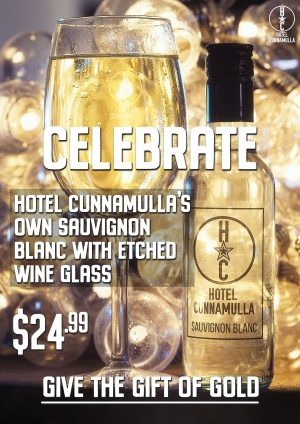 Hotel Cunnamulla's wine and etched glass, gift boxed